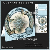 Over the Edge Round Card Kit little blue flower