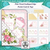 Pink Floral Scalloped Edge Pocket Card Kit & Tags