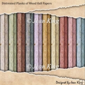 Distressed Planks of Wood 8x8 Papers