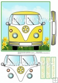 YELLOW CAMPER VAN with daffodils