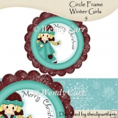 Ready to Print Circle Frame - Winter Girls 5(Retiring in July)