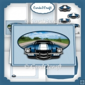 Blue car landscape card