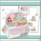 Mint, Coral & Gold Birthday Rectangle Pop Up Box Card