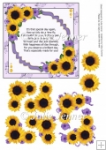 Sunflower Cluster Lilac with birthday verse A4 sheet