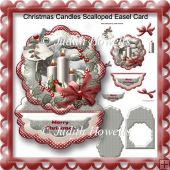 Christmas Candles Scalloped Easel Card