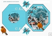 Pretty snow scene with robin and turq poinsettias hexagon fold
