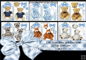 6 A5 Cute Teddies on lace with blue bows on tags Bumper Kit