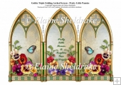 Butterflies & Pansy Flowers On A Gothic Triple Screen Card