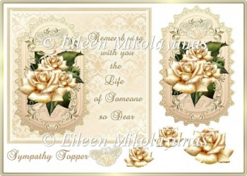 Golden Memories Sympathy Card Front/Topper with Decoupage