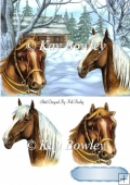 Horses with cottage in snow scene A5