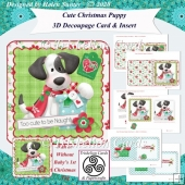 Cute Christmas Puppy 3D Decoupage Card & Inserts