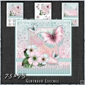 Vintage Pastel Shabby Butterfly Flower 1407
