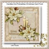 Candles And Poinsettias Christmas Card Front