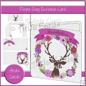 Purple Stag Invitation Card