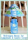 Summer Hydrangea Mason Jar Lampshade and Candle Sleeve Cover