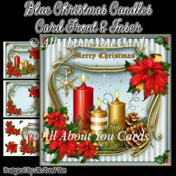 Blue Christmas Candles Card Front & Insert