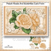 Peach Roses And Butterflies Card Front