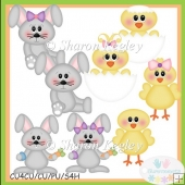 Bunnies and Chicks Grey Clip Art