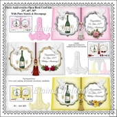 Three Wedding Anniversaries Open Book Card Kits With Plate Stand