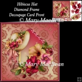 Hibiscus Hat Diamond Frame Decoupage Card Front