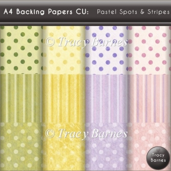 A4 Backing Papers: Pastel Spots & Stripes