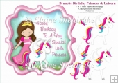 Brunette Birthday Princess And Unicorn -7 x 7 Topper & Decoupage