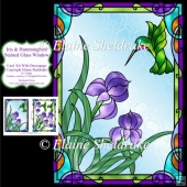 Iris & Humming Bird Stained Glass Window With Decoupage