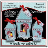 Lantern Shaped Gift Boxes/Luminaries - Santa & Poinsettias