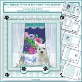 West Highland Terrier In The Window With Anemonies 6x6 Card Kit