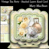 Vintage Tea Party - Stacked Layers Easel Card