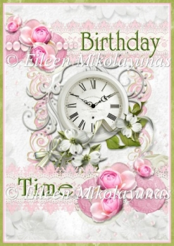 Cottage Chic Birthday Time Backing Background Paper