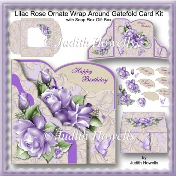 Lilac Rose Ornate Wrap Around Gatefold Card Kit