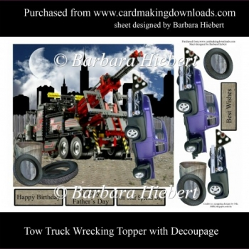 Tow Truck Wreaking Topper with Decoupage