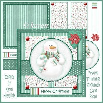 Festive Trimmings Snowman Card Front