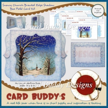 Snowy Church Bracket Edge Shadow Box Fold Card Kit
