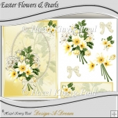 Easter Flowers & Pearls Decoupage Card Front
