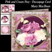 Pink and Cream Posy - Decoupage Card