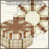 Hexagonal Exploding Box with Secret Gift Box - Brown Plaids
