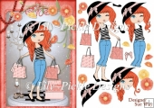 Fashionista! Cheeky Shopping Trip Card Front and Decoupage