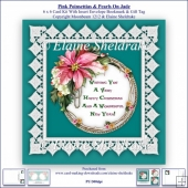 Pink Poinsettias Lace & Pearls On Jade 6 x 6 Card Kit & Insert