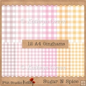 Sugar N Spice - 12 Size A4 Gingham Papers