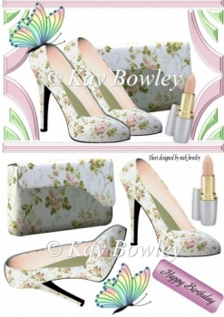 pretty flower shoes with lippy & butterfly A5