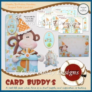Cheeky Birthday Monkey Shaped Fold Card Kit