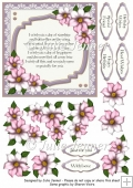 Lilac Floral Frame with verse A4 sheet with decoupage