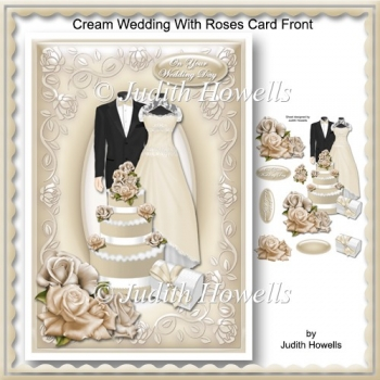 Cream Wedding With Roses Card Front