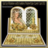 Girl in Window with Golden Poinsettias 8 x 8 Easel Card Kit