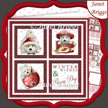 CHRISTMAS WESTIE SQUARES RED 7.5 Quick Layer Card & Insert
