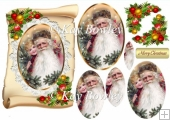 vintage santa with girl on a scroll with lace oval pyramids