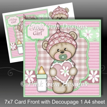 New Baby Bella Teddy Bear 7x7 Card Front with Decoupage