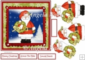 Santa Clause and holly wreath